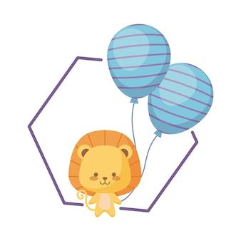 風船ヘリウムとかわいいライオン
