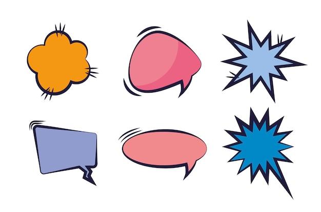 スピーチの泡ポップアートスタイルのセット