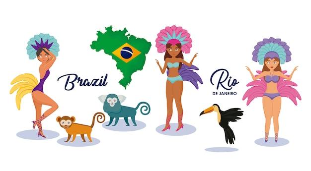 ブラジル文化のキャラクターと動物のセット
