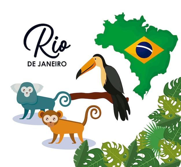 動物とカーニバルリオジャネイロ