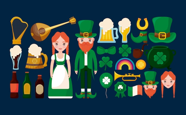 Пара ирландцев с набором символов, тревол и пива