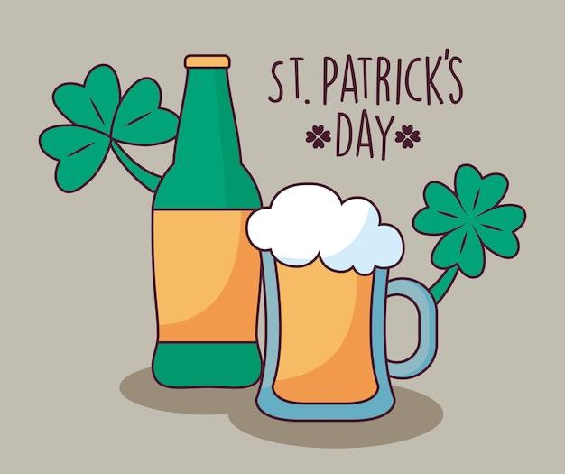 聖パトリックの日のクローバーとビール