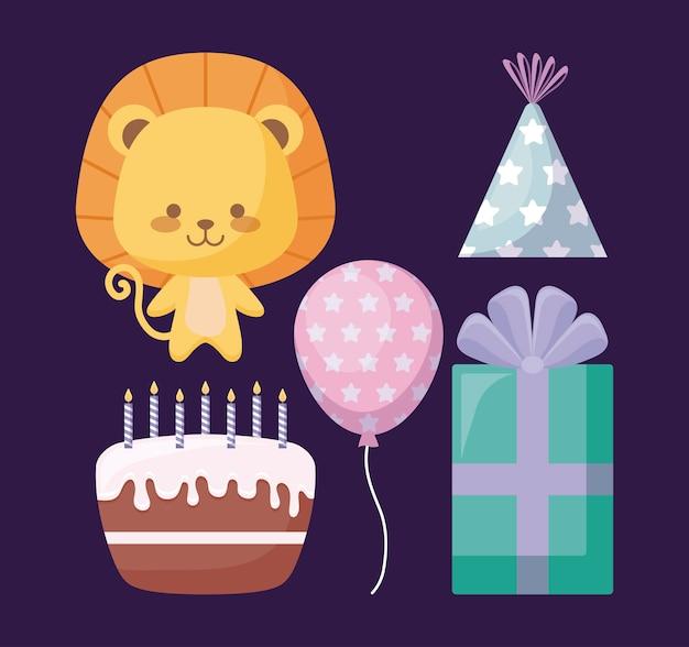 Милый лев и набор иконок вечеринки