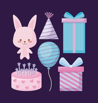 Милый кролик и набор иконок вечеринки