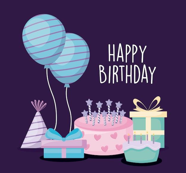 甘いケーキと設定アイコンの誕生日カード