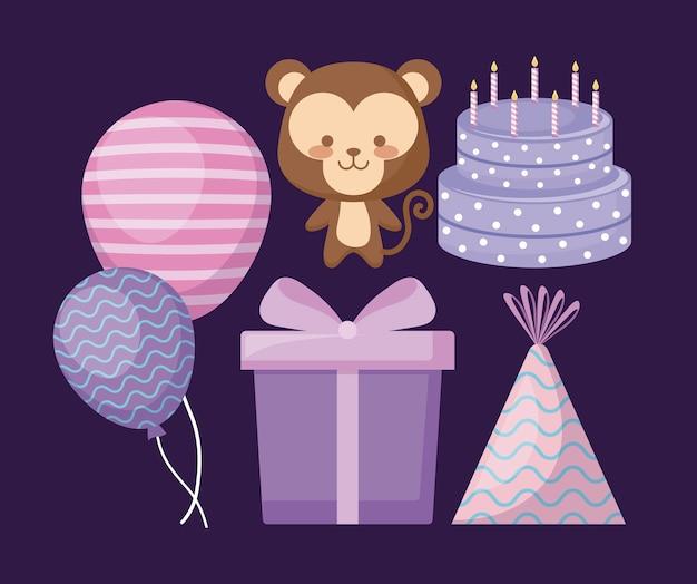 Милая обезьянка и набор иконок вечеринки