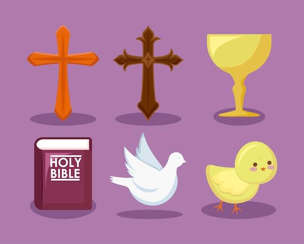 カトリックの宗教的なアイコンのセット