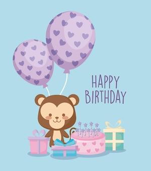 Поздравительная открытка с милой обезьяной