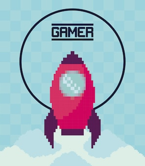 古典的なビデオゲームのロケット飛行