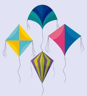 アイコンを飛んでいる凧のセット
