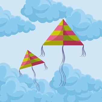 空を飛んでいる凧