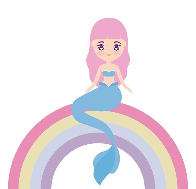 Милая русалка сидит в радуге