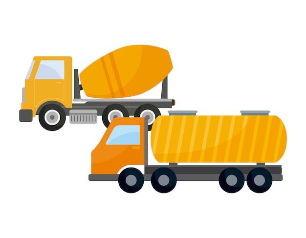 タンカートラックと建設中のコンクリートトラック