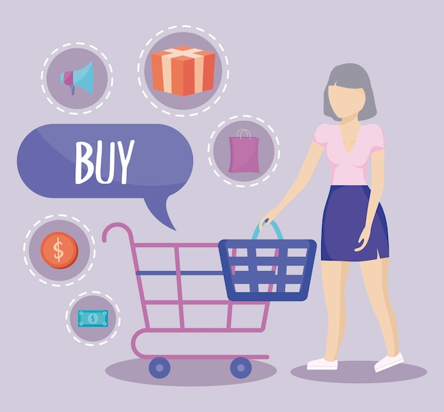 ショッピングカートと商業のアイコンを持つ女性
