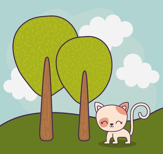 風景シーンの自然の中のかわいい猫動物