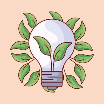 Лампочка экологическая с листьями
