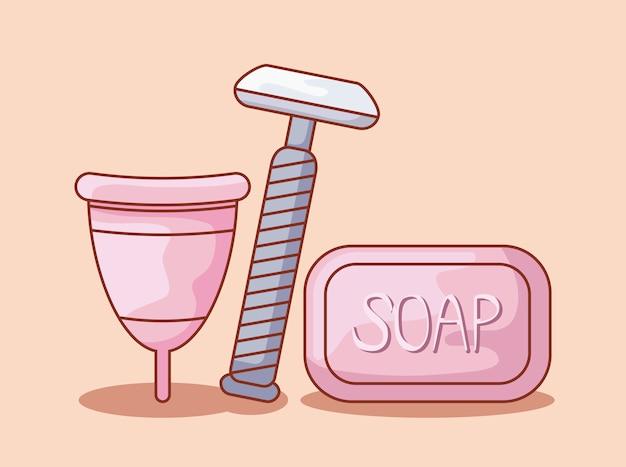 石鹸とかみそりの理髪師使い捨て月経カップ