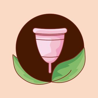月経カップ女性円形フレームで葉します。
