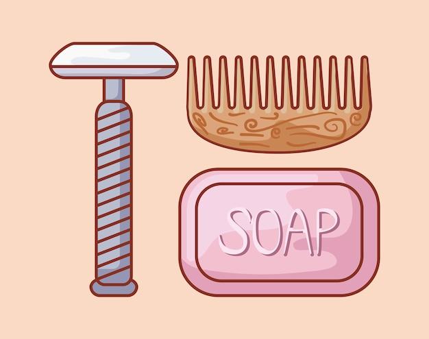 かみそりの理髪師は木の櫛および石鹸と使い捨て可能