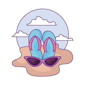 ビーチでサングラスとフリップフロップ