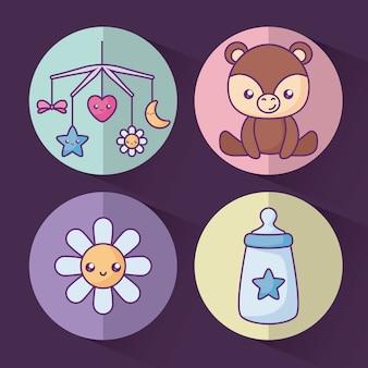 花と赤ちゃんのためのオブジェクトのかわいいクマ