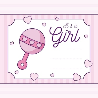 ベビーシャワーカードそれはガラガラと女の子です