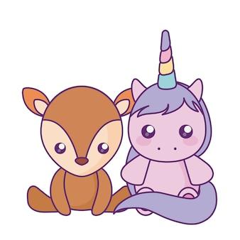 Милый маленький единорог с детским персонажем оленей