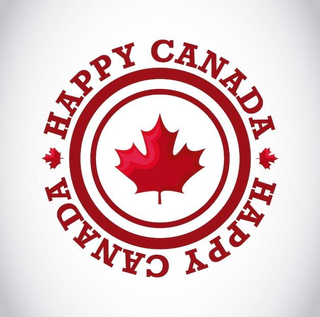 円形のフレームにカエデの葉と幸せなカナダ日のグリーティングカード