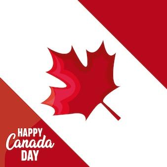 カエデの葉と幸せなカナダ日のグリーティングカード