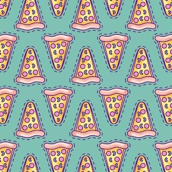おいしいピザファーストフードのパッチのシームレスパターン
