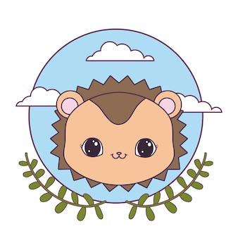 葉の冠と円形のフレームでヤマアラシの頭