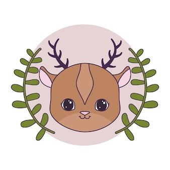 葉の冠と円形フレームでかわいいトナカイの頭