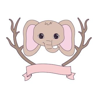 Голова милого слона с ветками деревьев и лентой