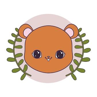 Голова милого бурундука в рамке круглая с короной из листьев