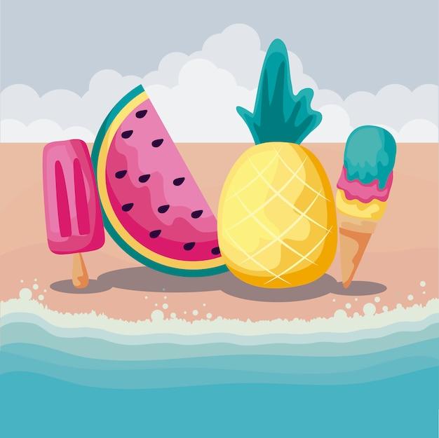 Летний пляж с фруктами ананас и набор иконок
