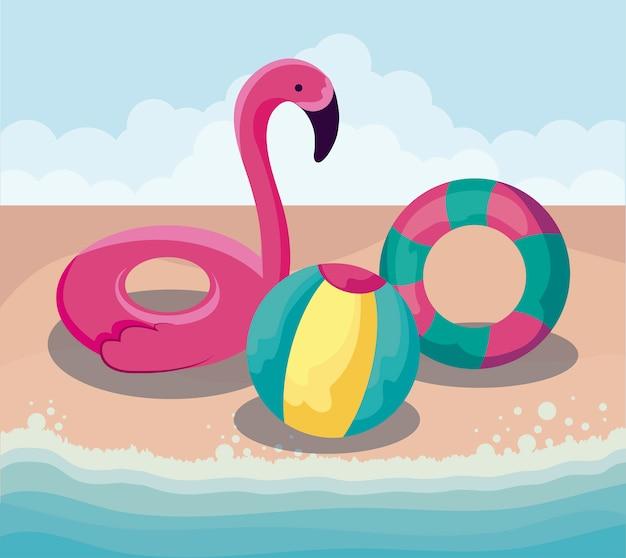 Летний пляж с поплавком фламандский с набором иконок
