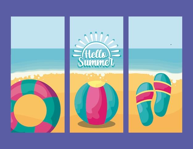 Летний праздник плакат с пляжем и иконами