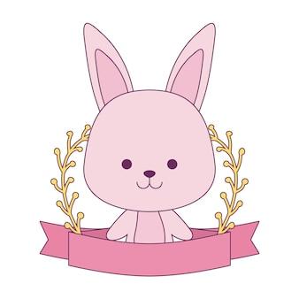 リボンと葉の枝を持つかわいいウサギ