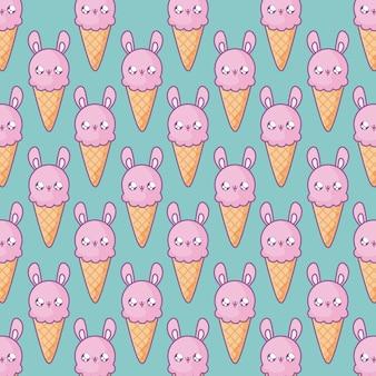 Узор из вкусного мороженого с лицом кролика в стиле каваи