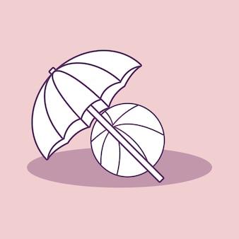 Пляжный зонтик и мяч значок