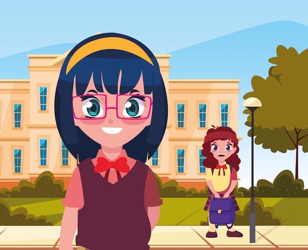 学校に戻る女子学生の外で