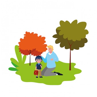 お父さんと男の子の学生が屋外で学校に戻る