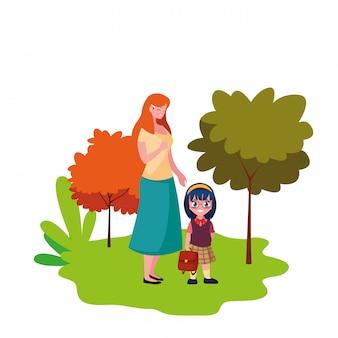 屋外で学校に戻って母と娘の学生