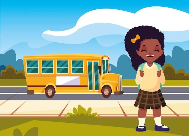学校に戻るバスで学生の女の子