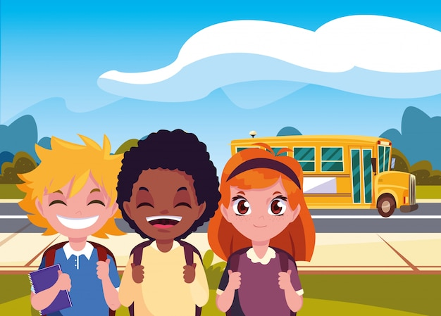 Счастливые школьники в уличном автобусе снова в школу