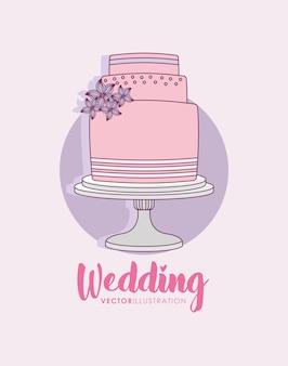 甘いケーキで結婚式のお祝い