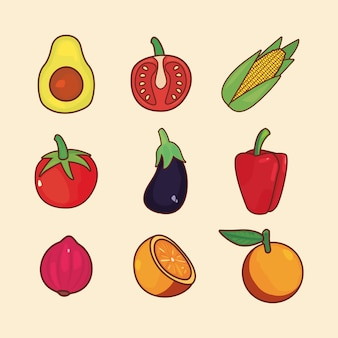 栄養新鮮な果物と野菜