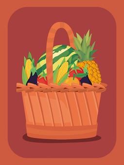 Корзина свежих фруктов и овощей