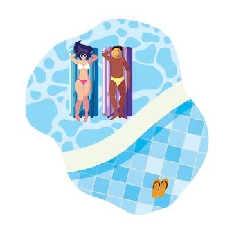 Межрасовый пара с поплавком матрас в воде