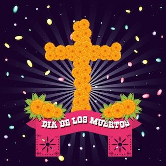 Цветочный крест дня мертвых